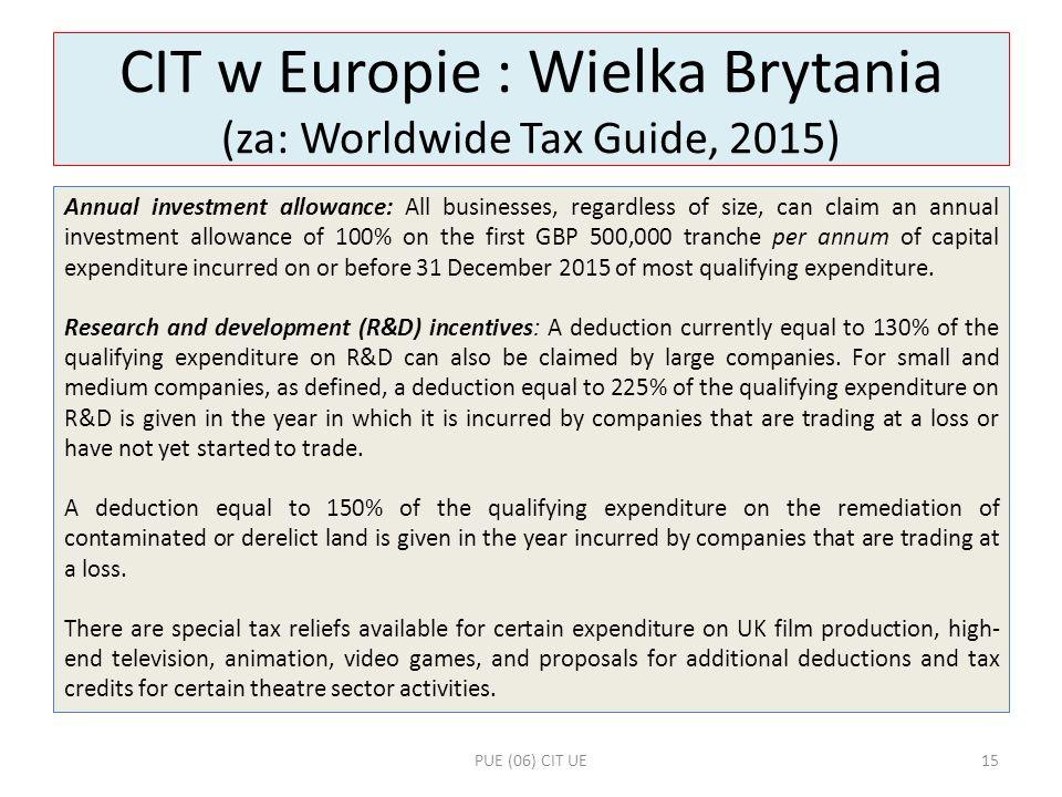 CIT w Europie : Wielka Brytania (za: Worldwide Tax Guide, 2015)