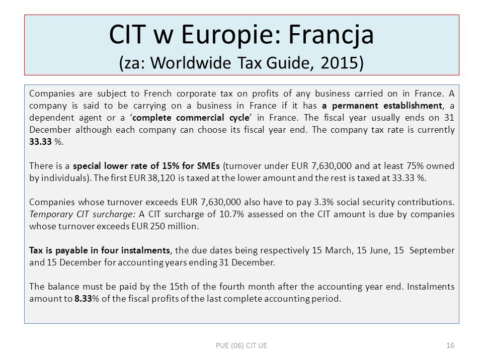 CIT w Europie: Francja (za: Worldwide Tax Guide, 2015)