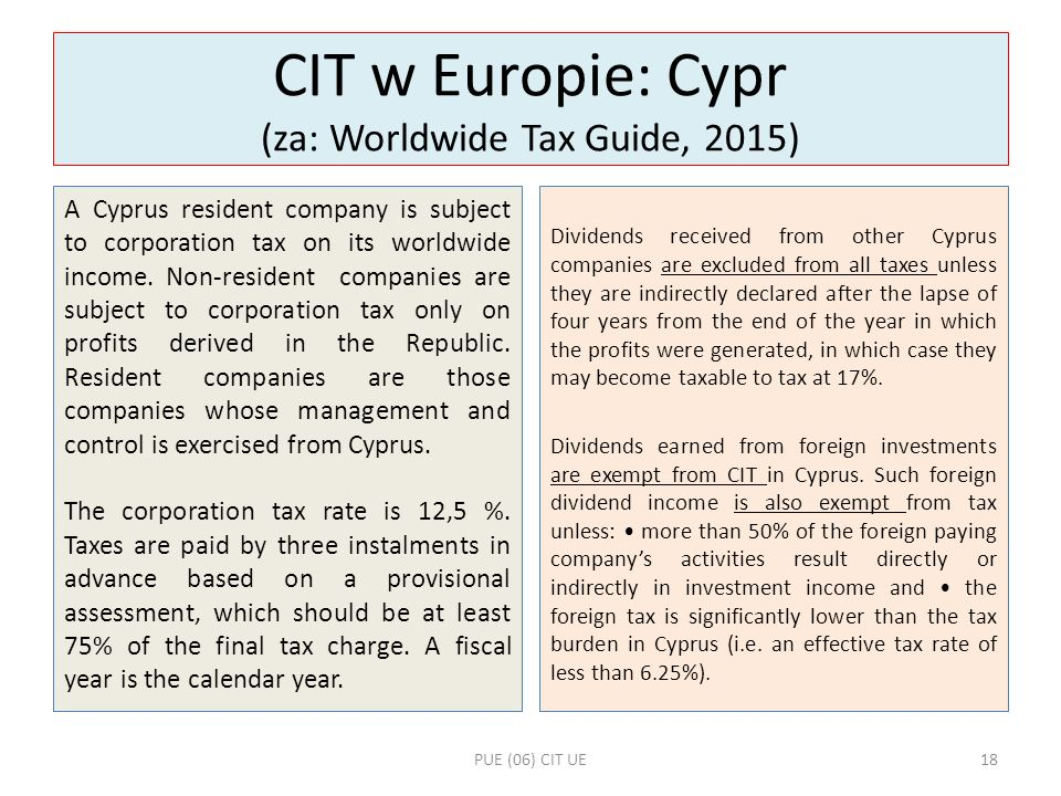 CIT w Europie: Cypr (za: Worldwide Tax Guide, 2015)