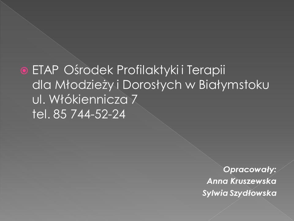 ETAP Ośrodek Profilaktyki i Terapii dla Młodzieży i Dorosłych w Białymstoku ul. Włókiennicza 7 tel. 85 744-52-24