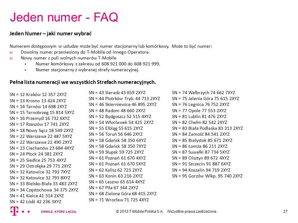 Jeden numer - FAQ Jeden Numer – jaki numer wybrać