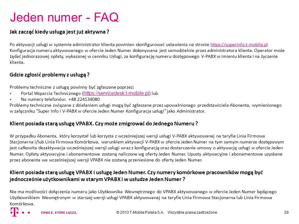 Jeden numer - FAQ Jak zacząć kiedy usługa jest już aktywna