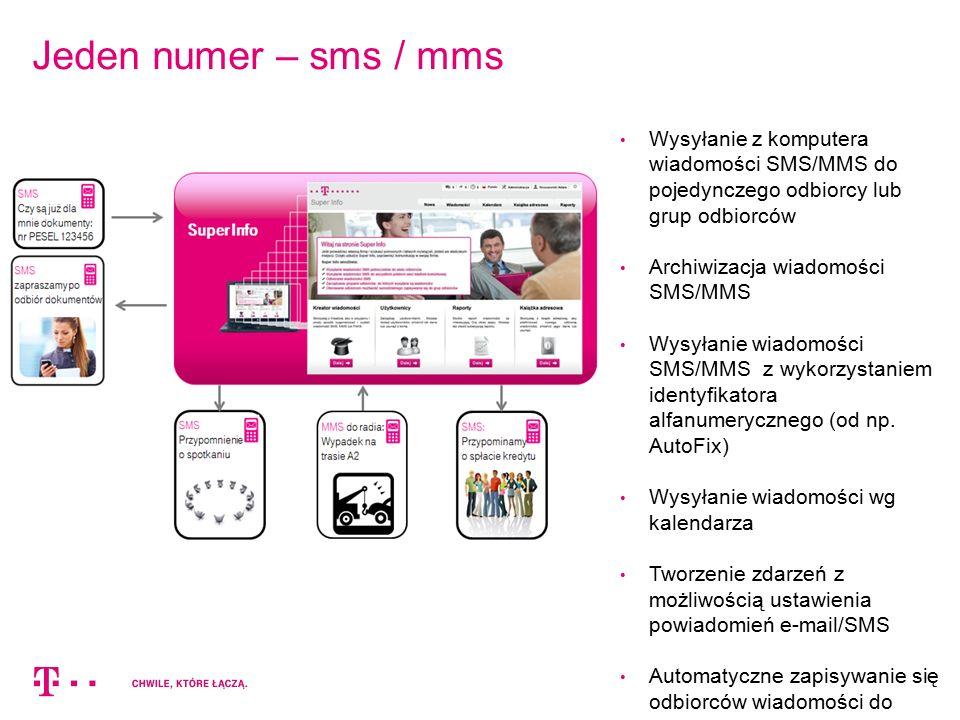 Jeden numer – sms / mms Wysyłanie z komputera wiadomości SMS/MMS do pojedynczego odbiorcy lub grup odbiorców.