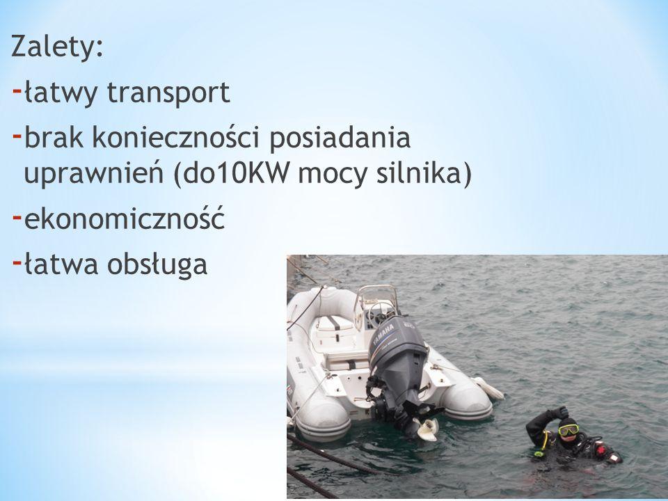 Zalety: łatwy transport. brak konieczności posiadania uprawnień (do10KW mocy silnika) ekonomiczność.