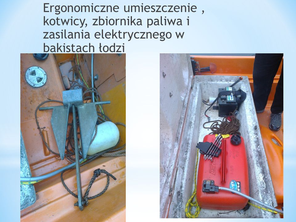Ergonomiczne umieszczenie , kotwicy, zbiornika paliwa i zasilania elektrycznego w bakistach łodzi