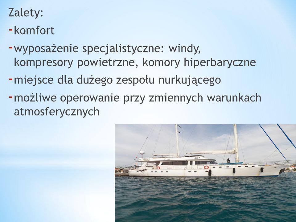 Zalety: komfort. wyposażenie specjalistyczne: windy, kompresory powietrzne, komory hiperbaryczne.