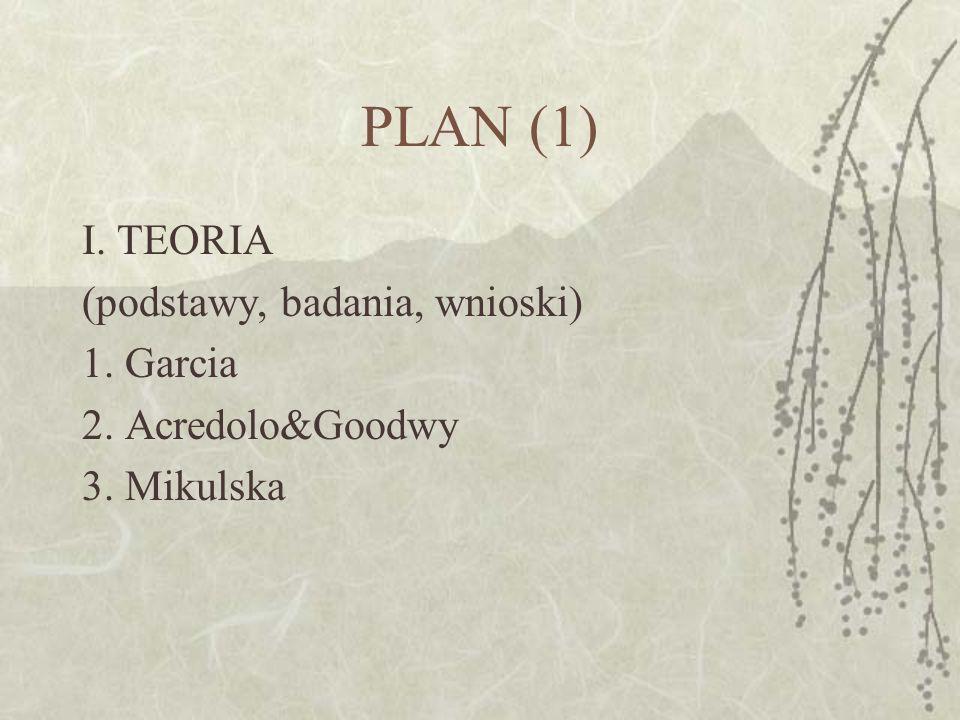 PLAN (1) I. TEORIA (podstawy, badania, wnioski) 1. Garcia