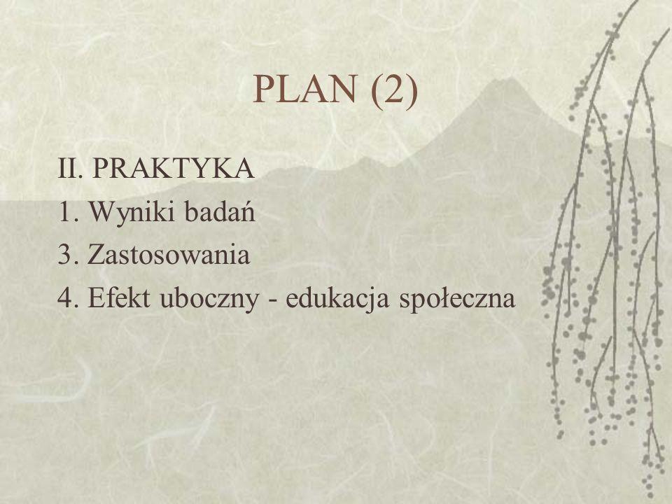 PLAN (2) II. PRAKTYKA 1. Wyniki badań 3. Zastosowania