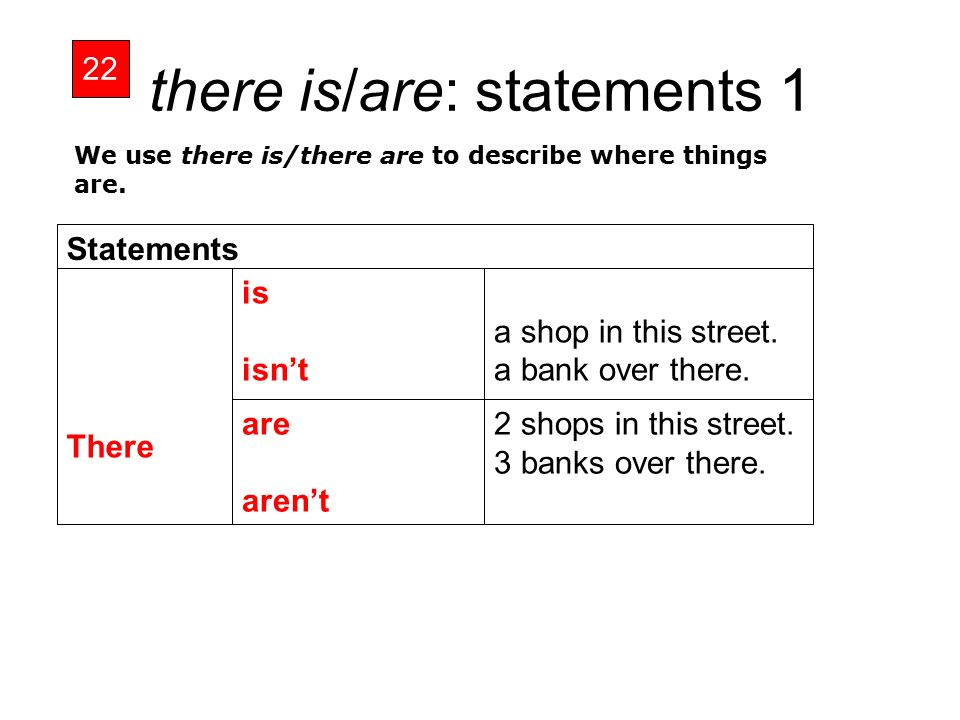 there is/are: statements 1