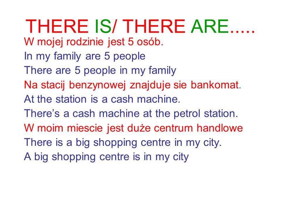 THERE IS/ THERE ARE..... W mojej rodzinie jest 5 osób.