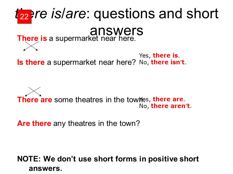 there is/are: questions and short answers