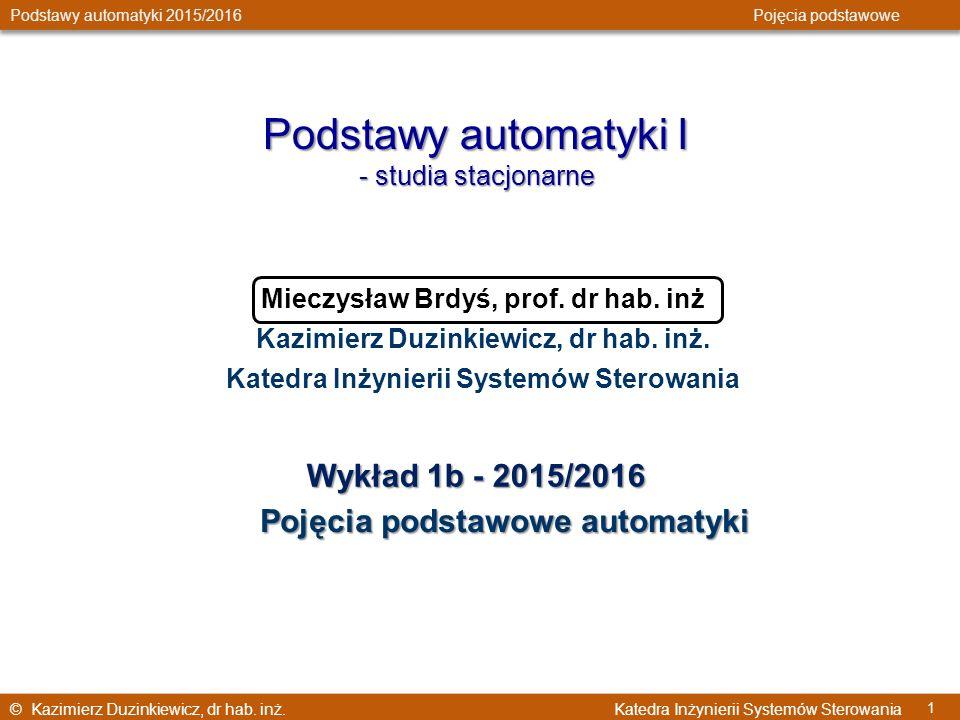 Podstawy automatyki I Wykład 1b - 2015/2016