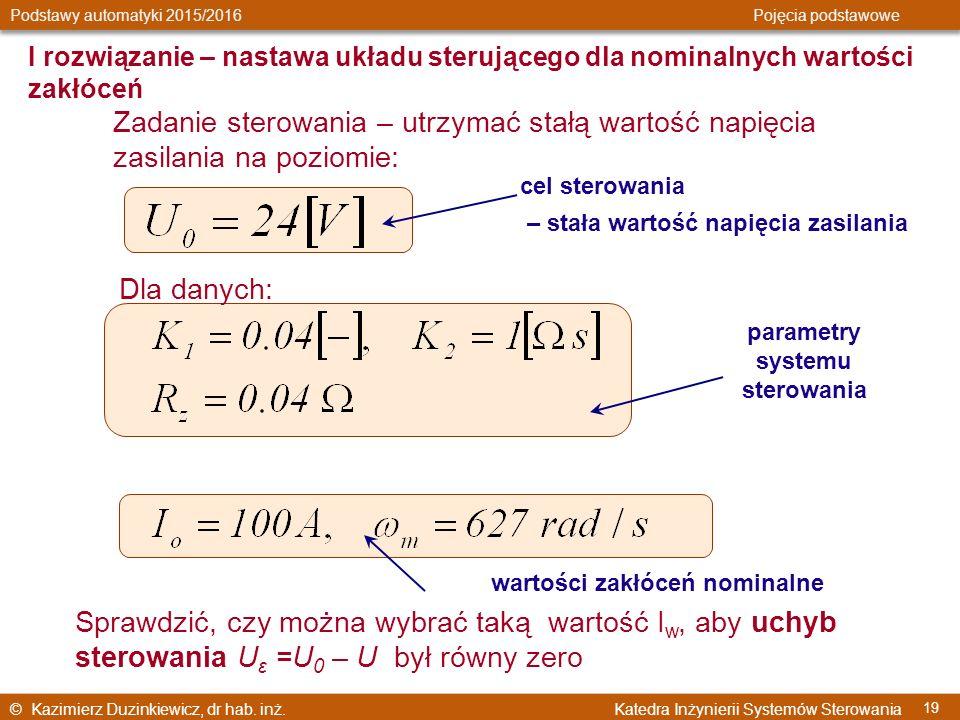 parametry systemu sterowania wartości zakłóceń nominalne