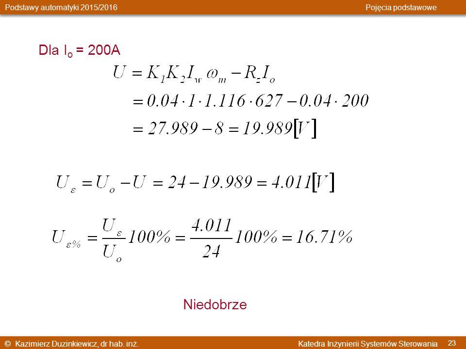 Dla Io = 200A Niedobrze