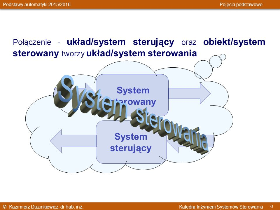 System sterowania System sterowany System sterujący
