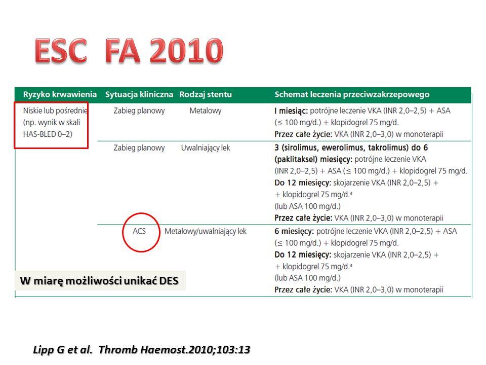 ESC FA 2010 W miarę możliwości unikać DES