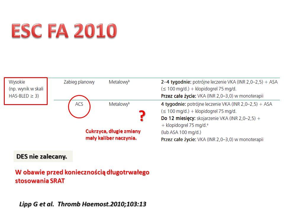 ESC FA 2010 Cukrzyca, długie zmiany. mały kaliber naczynia. DES nie zalecany. W obawie przed koniecznością długotrwałego.