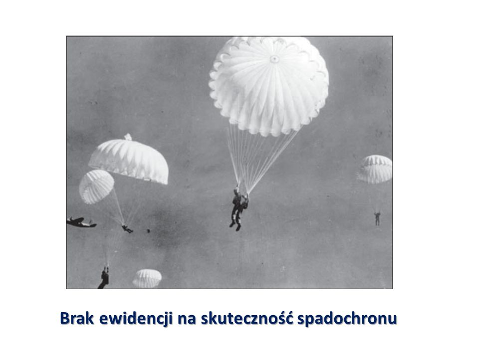 Brak ewidencji na skuteczność spadochronu