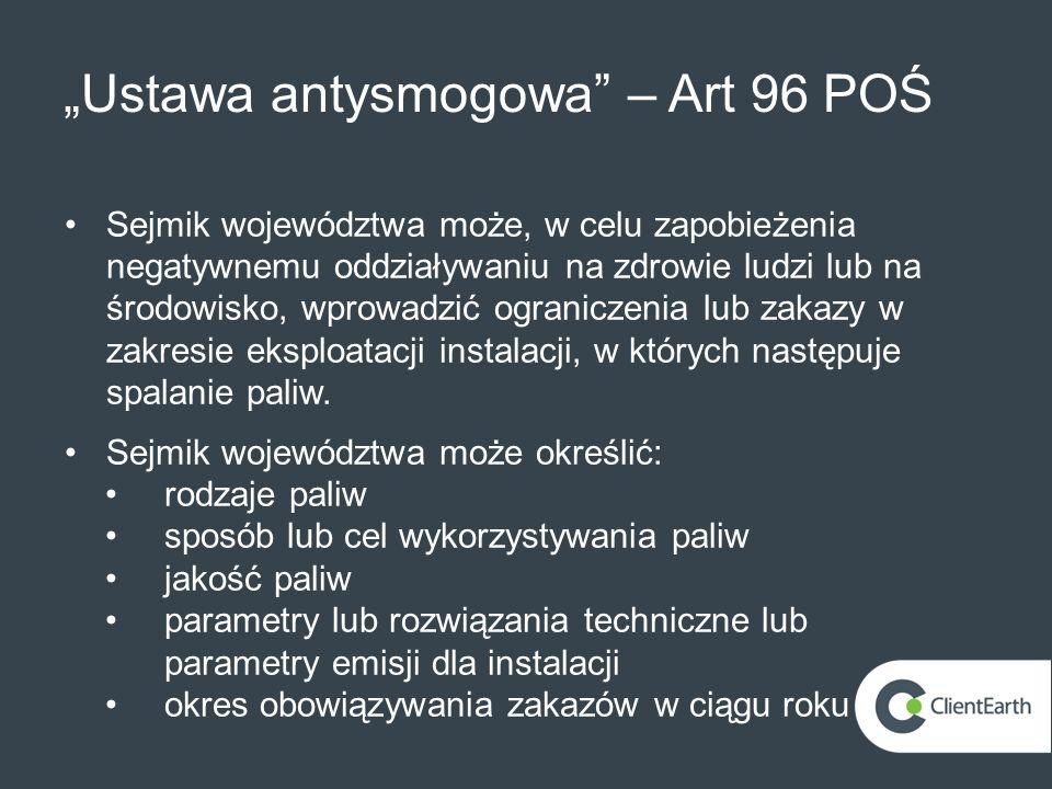 """""""Ustawa antysmogowa – Art 96 POŚ"""