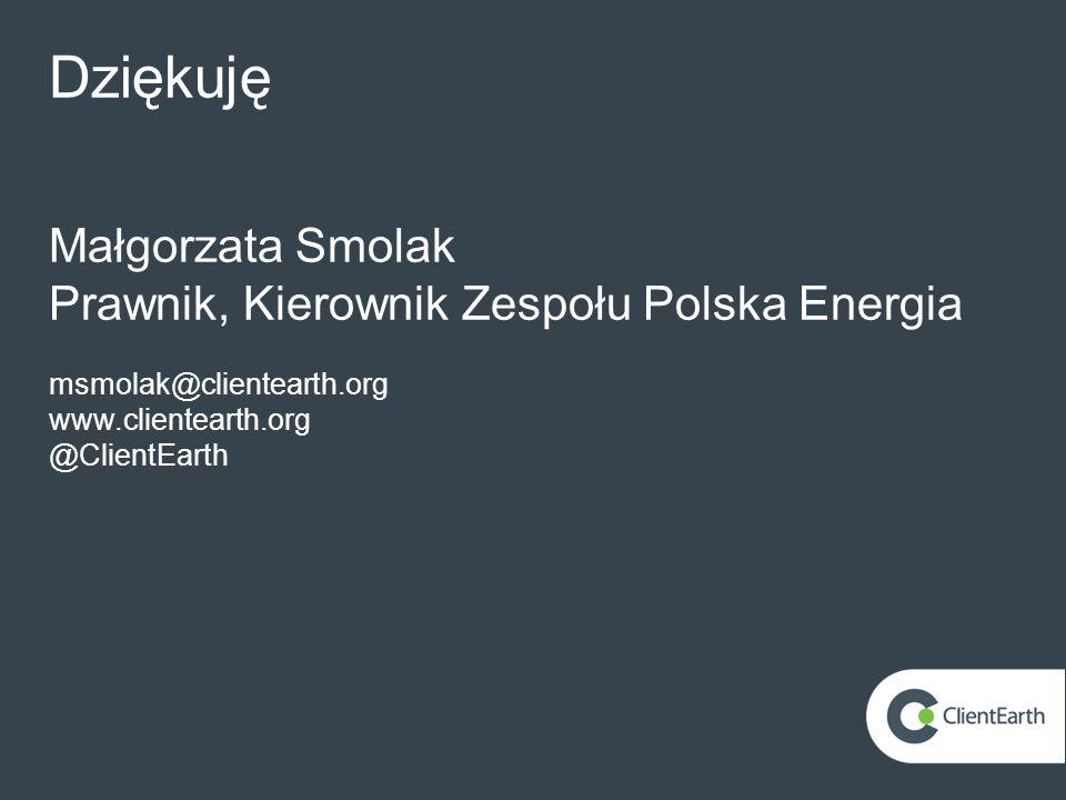 Dziękuję Małgorzata Smolak Prawnik, Kierownik Zespołu Polska Energia