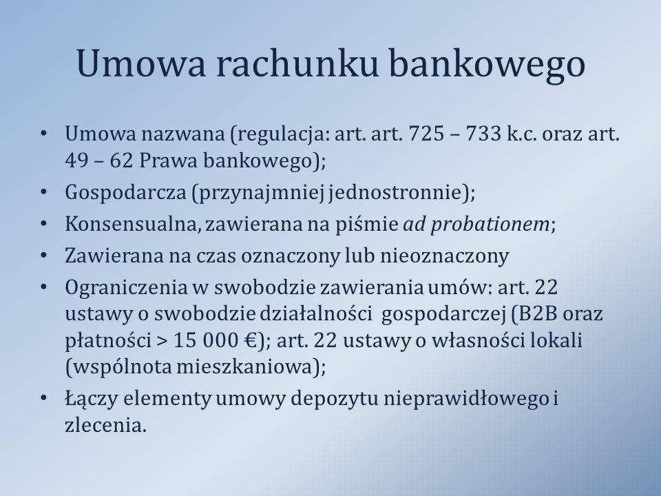 Umowa rachunku bankowego