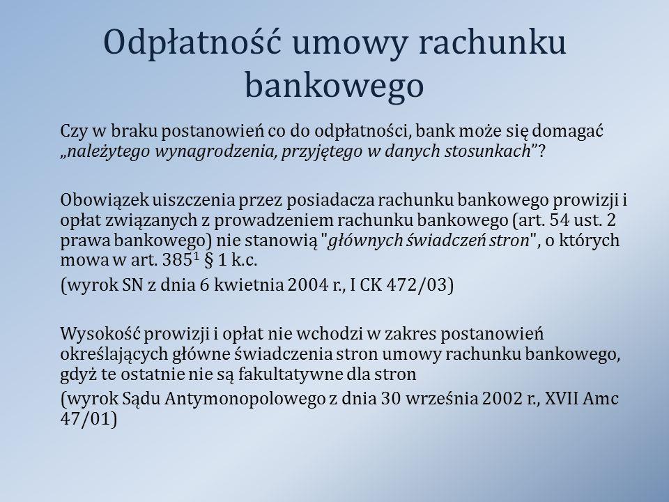Odpłatność umowy rachunku bankowego