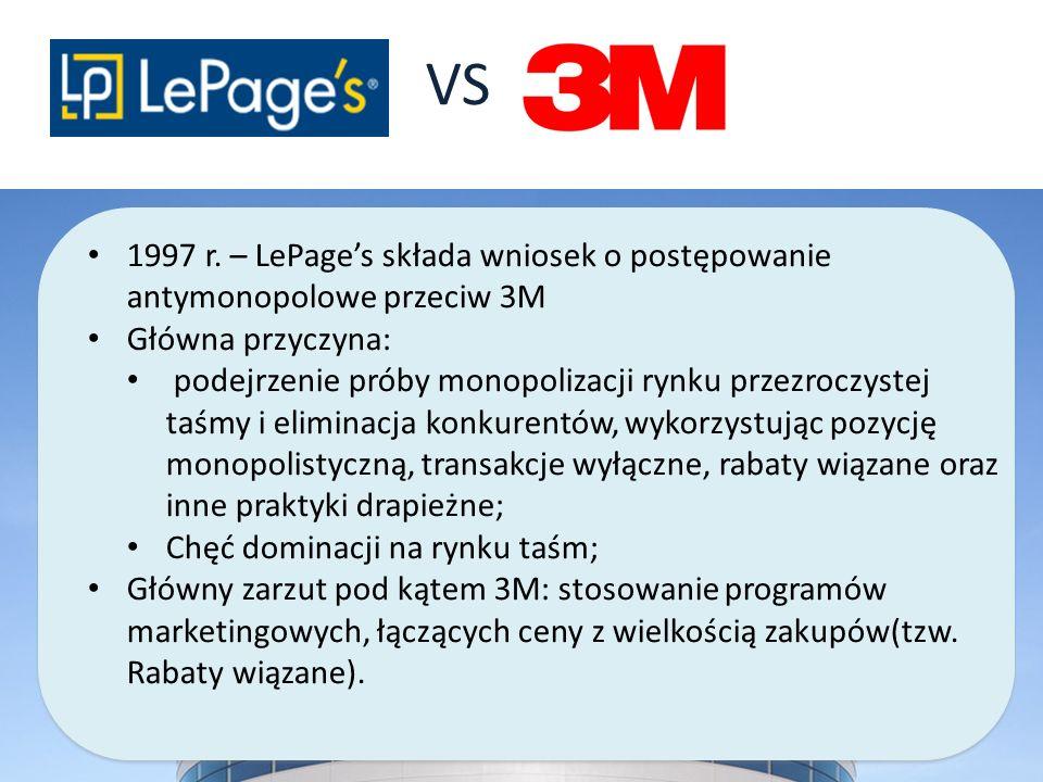 VS 1997 r. – LePage's składa wniosek o postępowanie antymonopolowe przeciw 3M. Główna przyczyna: