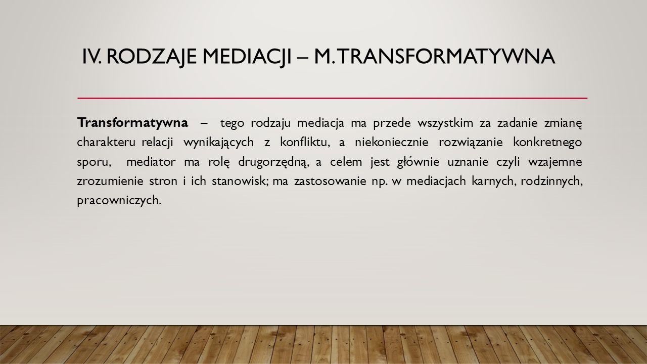 IV. Rodzaje mediacji – m. transformatywna