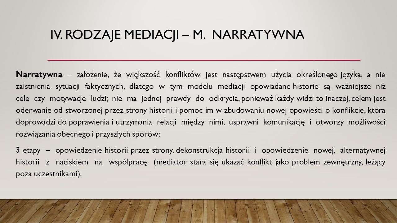 IV. Rodzaje mediacji – m. narratywna