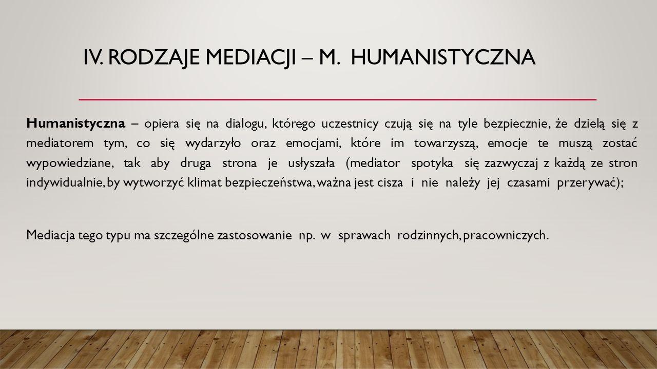 IV. Rodzaje mediacji – m. humanistyczna