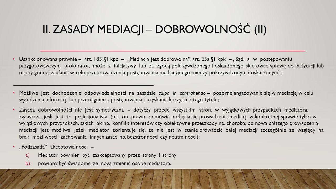 ii. Zasady mediacji – dobrowolność (II)