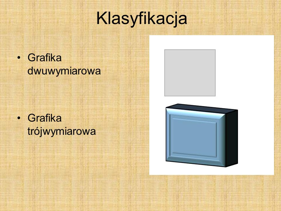 Klasyfikacja Grafika dwuwymiarowa Grafika trójwymiarowa
