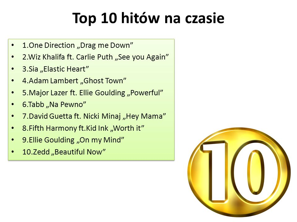 "Top 10 hitów na czasie 1.One Direction ""Drag me Down"