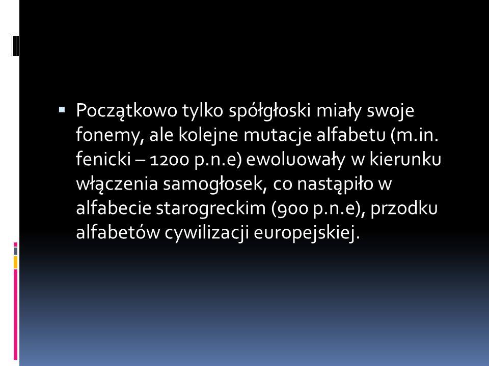 Początkowo tylko spółgłoski miały swoje fonemy, ale kolejne mutacje alfabetu (m.in.
