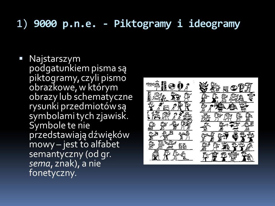 1) 9000 p.n.e. - Piktogramy i ideogramy