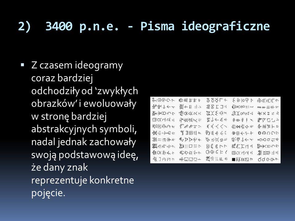 2) 3400 p.n.e. - Pisma ideograficzne