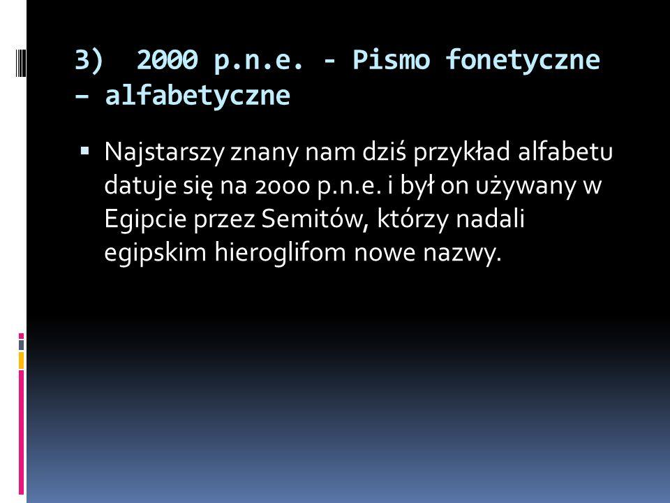 3) 2000 p.n.e. - Pismo fonetyczne – alfabetyczne