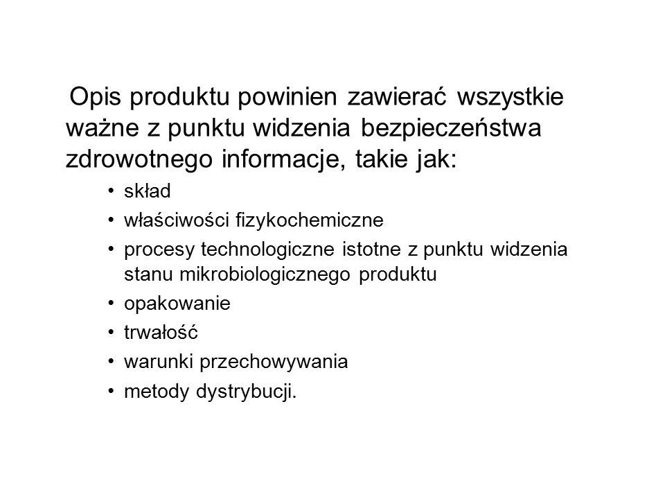Opis produktu powinien zawierać wszystkie ważne z punktu widzenia bezpieczeństwa zdrowotnego informacje, takie jak: