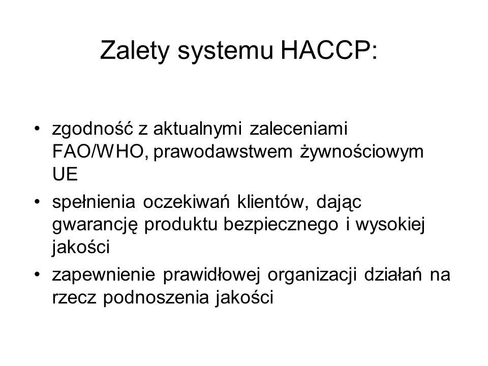 Zalety systemu HACCP: zgodność z aktualnymi zaleceniami FAO/WHO, prawodawstwem żywnościowym UE.