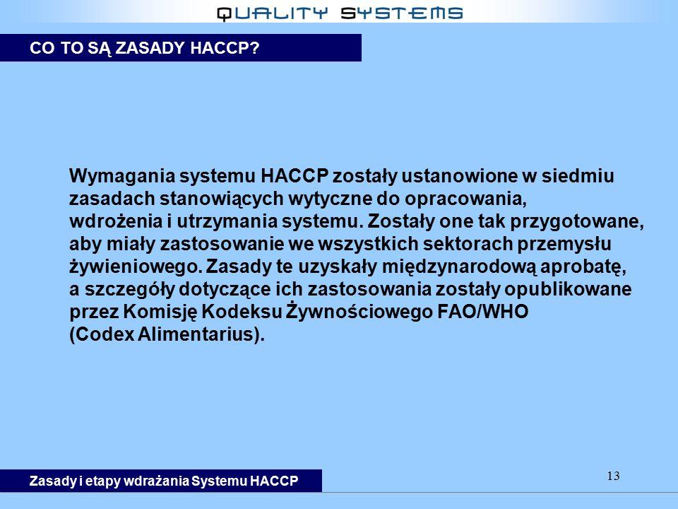 Wymagania systemu HACCP zostały ustanowione w siedmiu