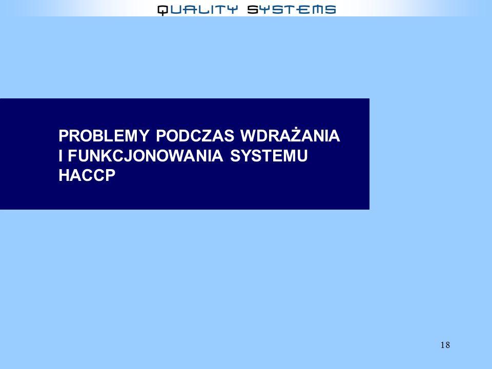 PROBLEMY PODCZAS WDRAŻANIA I FUNKCJONOWANIA SYSTEMU HACCP
