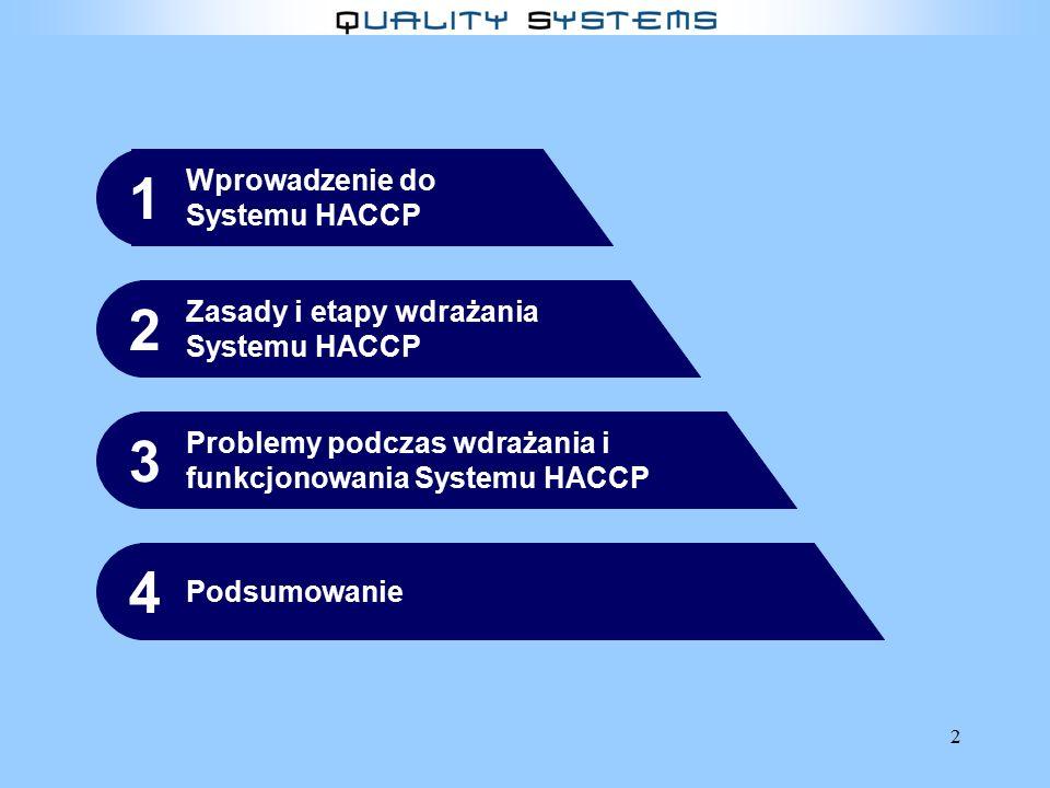 1 2 3 4 Wprowadzenie do Systemu HACCP Zasady i etapy wdrażania