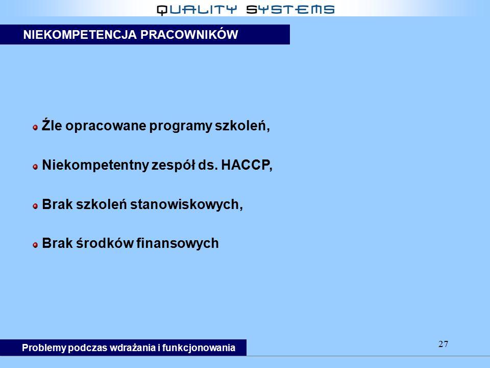 Źle opracowane programy szkoleń, Niekompetentny zespół ds. HACCP,
