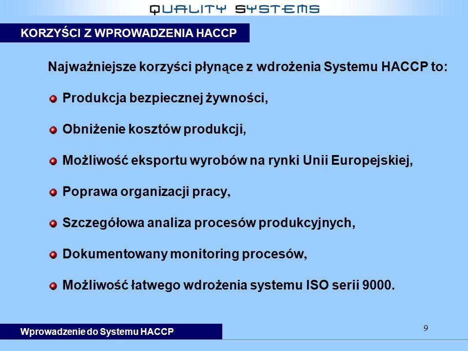 Najważniejsze korzyści płynące z wdrożenia Systemu HACCP to: