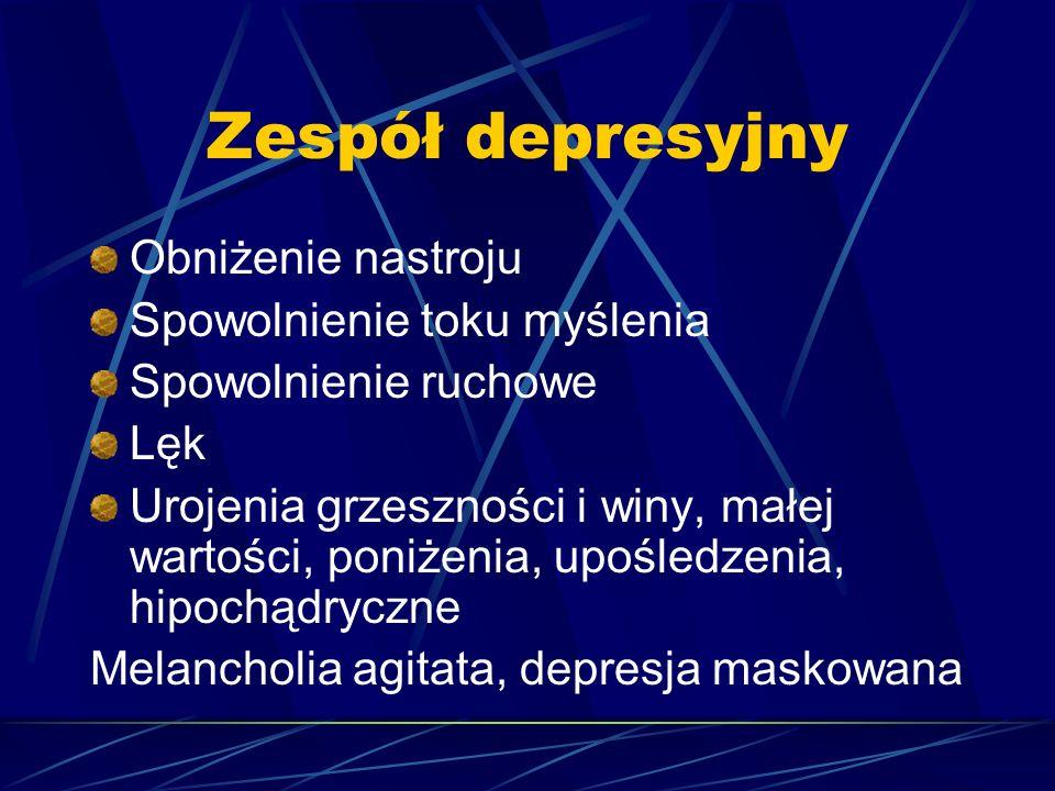 Zespół depresyjny Obniżenie nastroju Spowolnienie toku myślenia