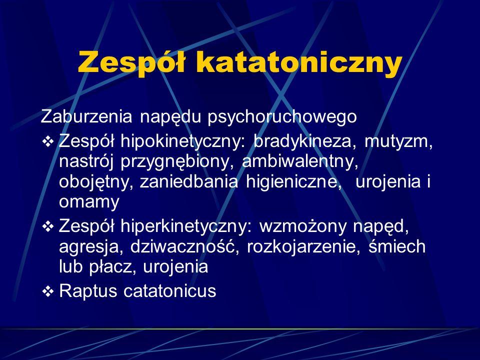 Zespół katatoniczny Zaburzenia napędu psychoruchowego