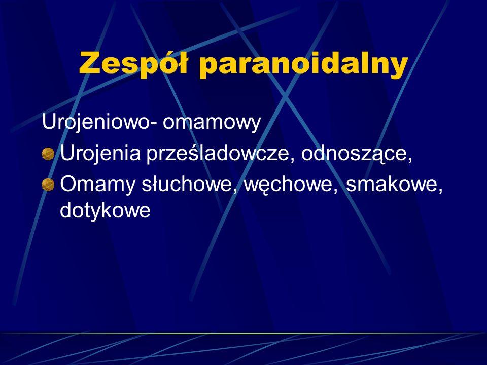 Zespół paranoidalny Urojeniowo- omamowy