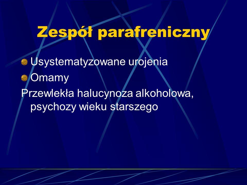 Zespół parafreniczny Usystematyzowane urojenia Omamy