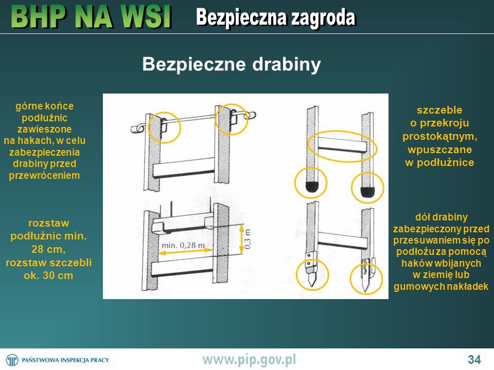 Bezpieczne drabiny górne końce podłużnic zawieszone na hakach, w celu zabezpieczenia drabiny przed przewróceniem.