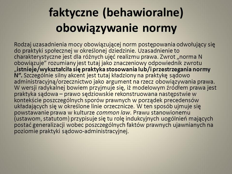 faktyczne (behawioralne) obowiązywanie normy